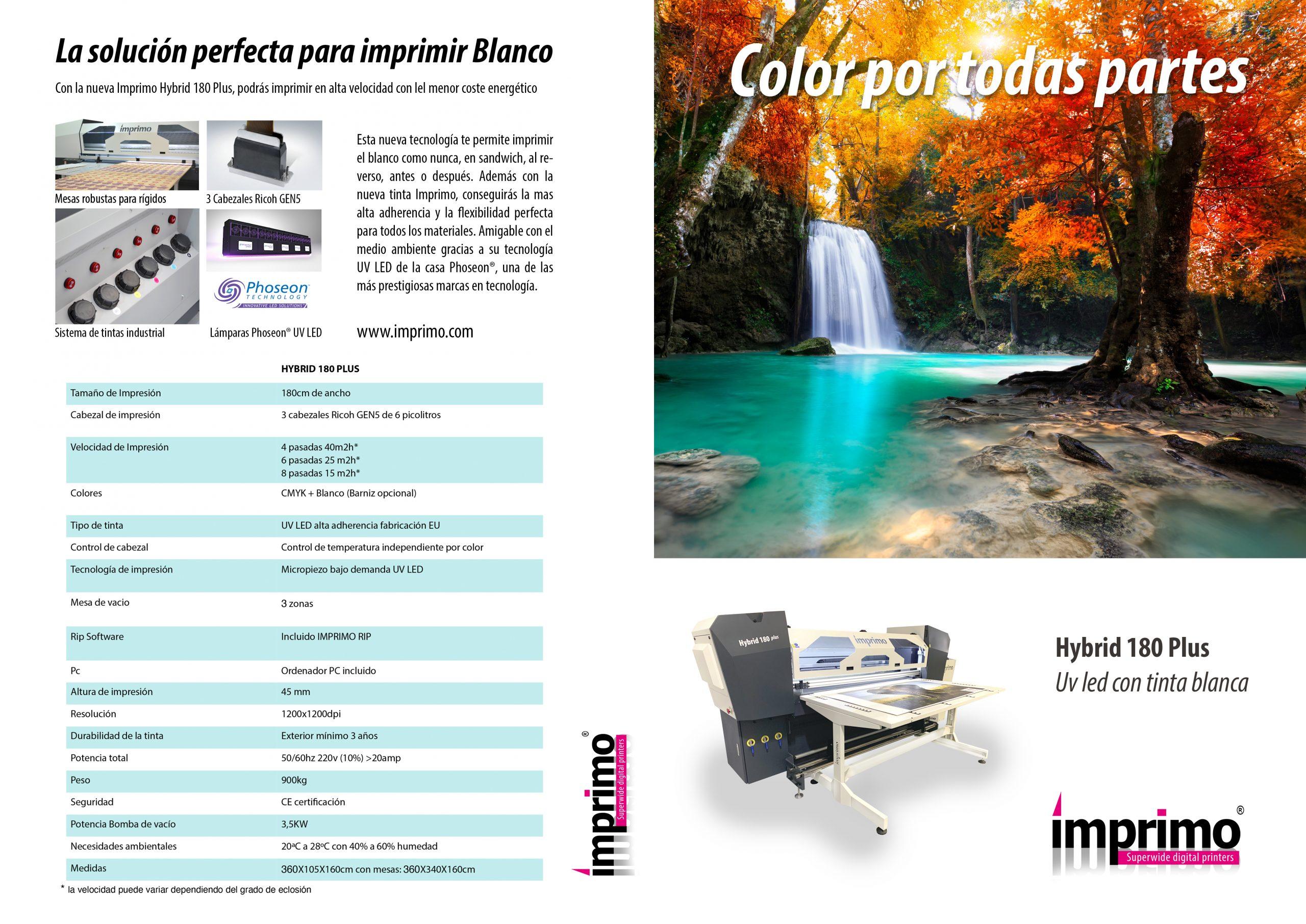 imprimo hybrid 180 plus es una impresora sobre rígidos