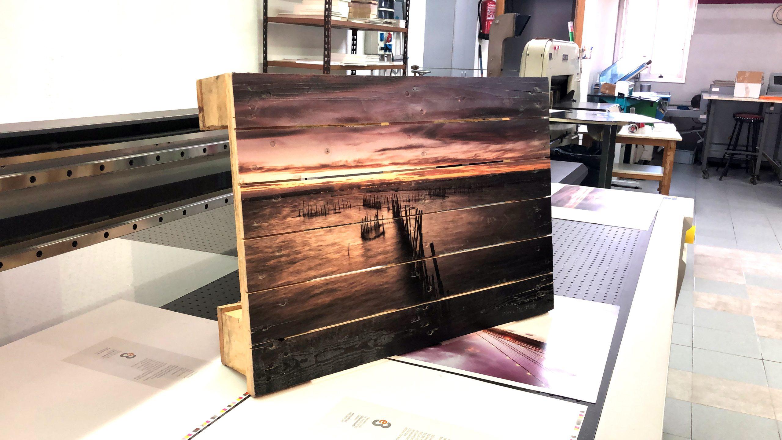 impresión de fotos sobre palets