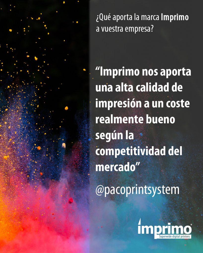 Declaraciones Paco Print sobre impresoras UV LED Imprimo